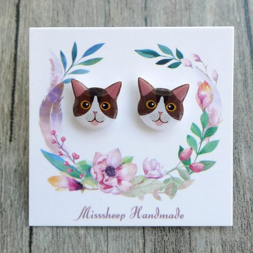 Misssheep-U47- Take Me Home - Brown Eyes Cat Hand Earrings (Auricular / Transparent Ear Clips)