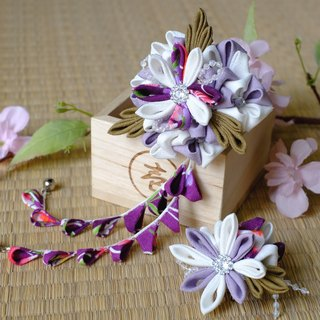 Hana Saku [ma mi-zu] fretwork snuggle. Deep white | 2 Dian combination - purple and white lines and wind Japanese kimono cloth flower hairpin flower hair ornaments handmade creation