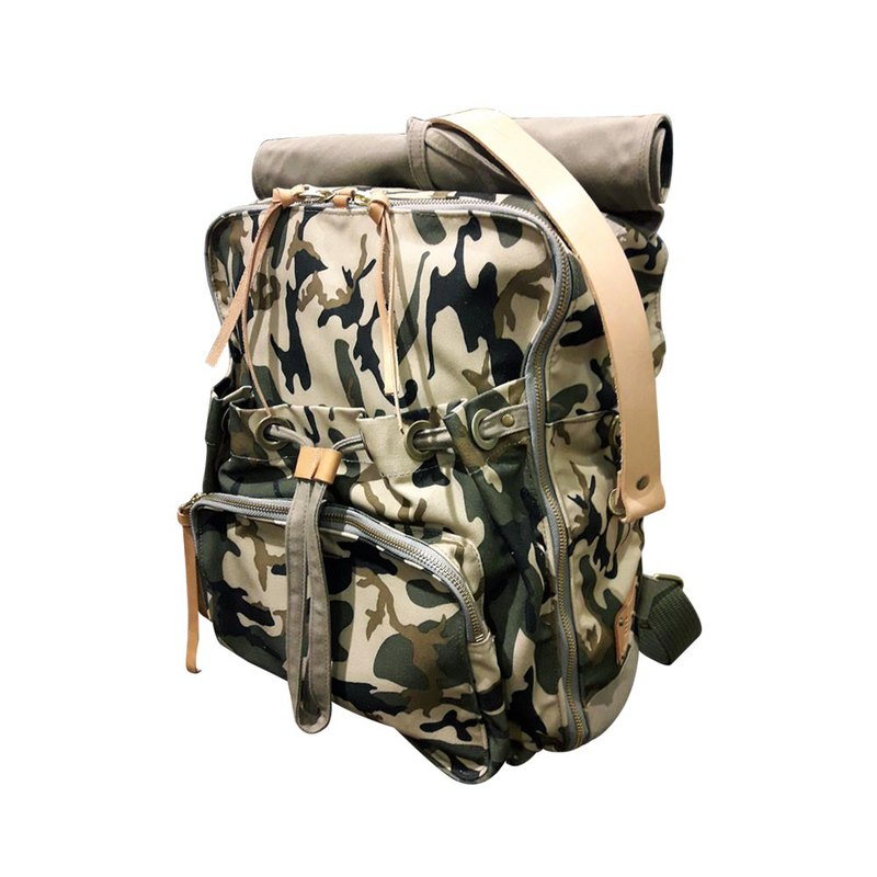 Waxed Canvas Camouflage Backpack / Urban Camouflage Backpack / Camouflage Green (Khaki) / L / Limited Edition