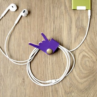 Music please don't stop rocking down iPhone earphone cable storage handmade leather earphone hub (purple)