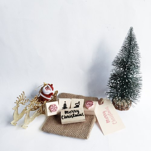 Handcarved Christmas Stamps - Set of 5