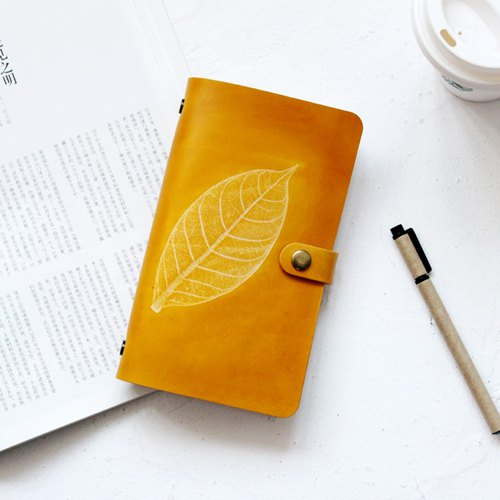 Exchanging Gifts Valentine Gifts Birthday Gifts Mother's Day Gifts such as the first layer of vegetable tanned cowhide leaves embossed yellow tea A6 loose-leaf notebook account manual leather notebook stationery free lettering 19*11cm
