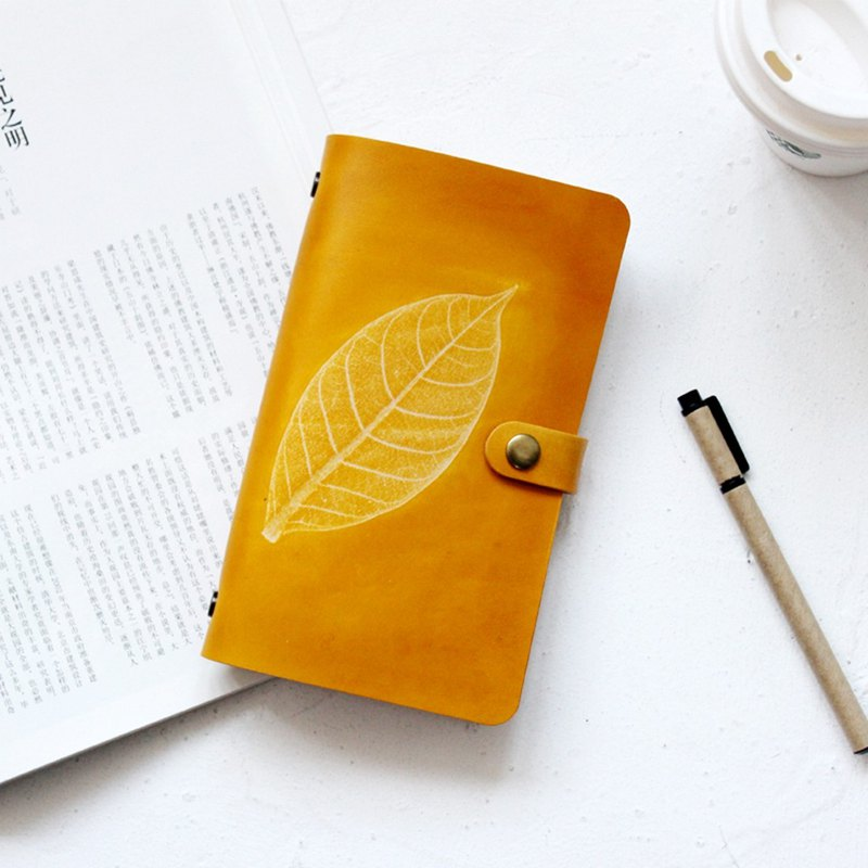 Yellow tea leaves A6 A5 A7 loose-leaf notebook handbook handmade leather notebook customization