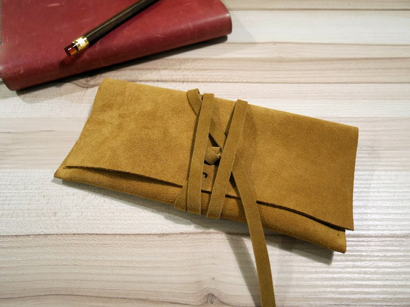 Suede pencil case / storage bag - yellow brown