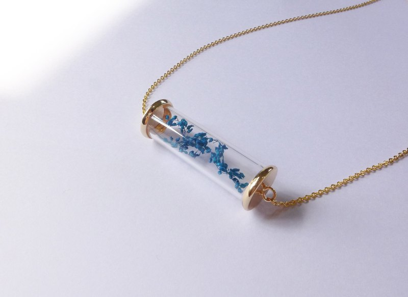 Gold Plated Glass Test Tube Necklace [Sea Flower] - Collection Season Series Gift Glass Handmade Special Valentine's Day Dried Flower Blue Summer