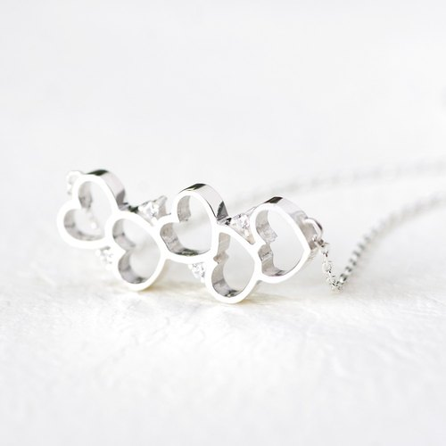 Wave open heart necklace silver925