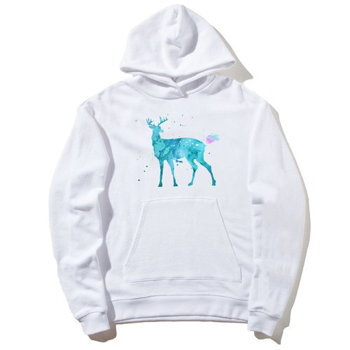 Splash Deer front figure long-sleeved bristles hooded T neutral white elk color watercolor illustration Deer universe design own brand Milky Way trendy round triangle