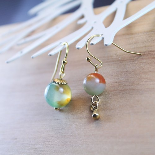 【Gold Lake】 earrings earrings | clip earrings earrings can be changed for sterling silver needles | peacock agate | brass plated 18k gold | natural stone earrings, Chinese ancient wind ornaments E27