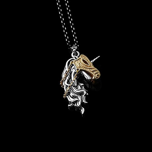 Royal mask unicorn necklace