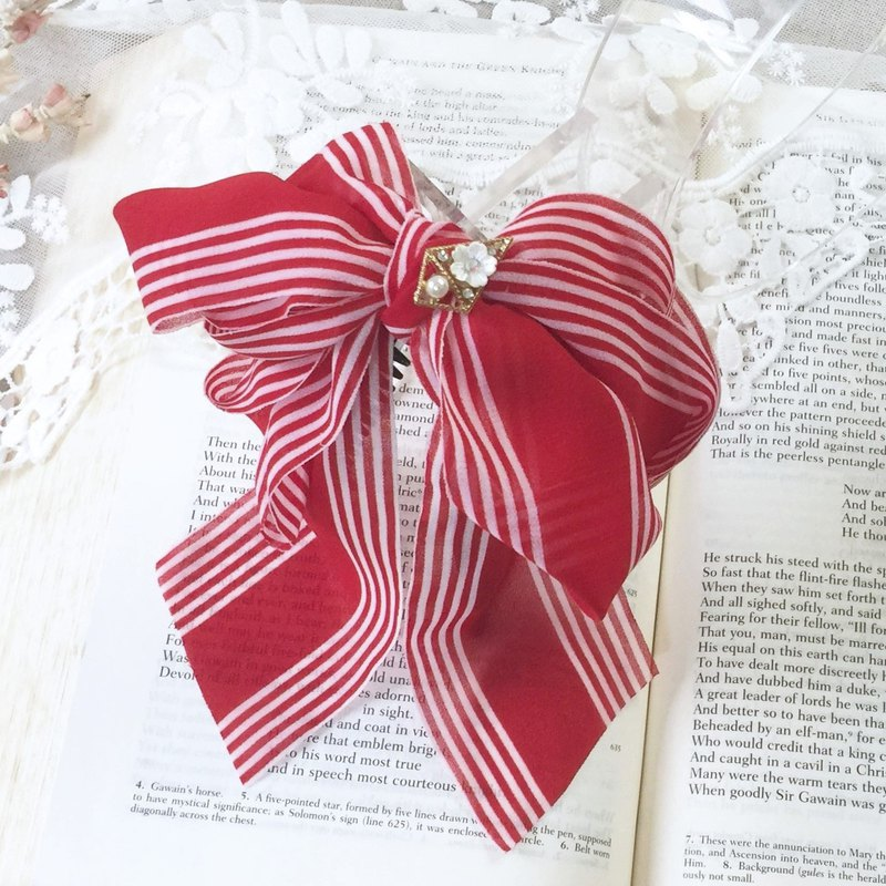 Red multi-layer striped chiffon stereo bow banana clip ~ hairpin fairy clip hair ring ponytail clip