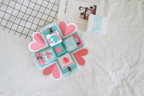 Gift Box Cards - Classic Tiffany Style - White Box x Deluxe Organ Version - Handmade Cards / Valentine Card / Explosive Card / Explosion Box
