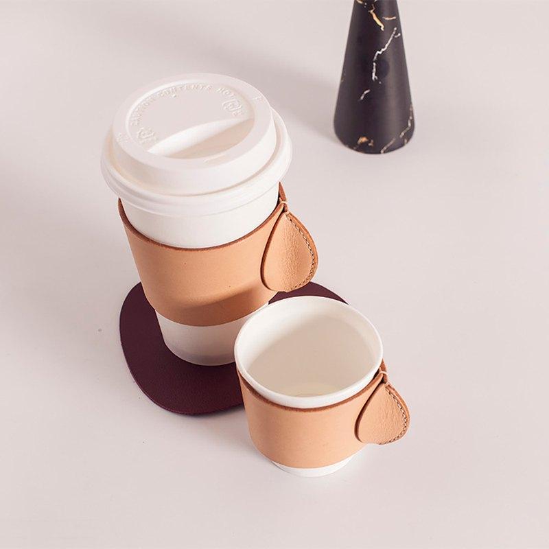 原創真皮北歐簡約通用杯套保護隔熱防燙一次性紙杯星巴克