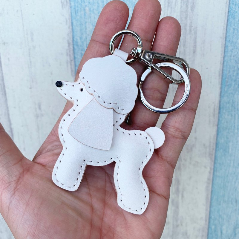 Handmade leather white cute poodle handmade sewn leather keychain small size