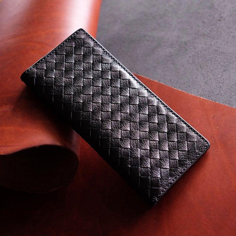 羊皮織皮長銀包。手縫皮革材料包。BSP113