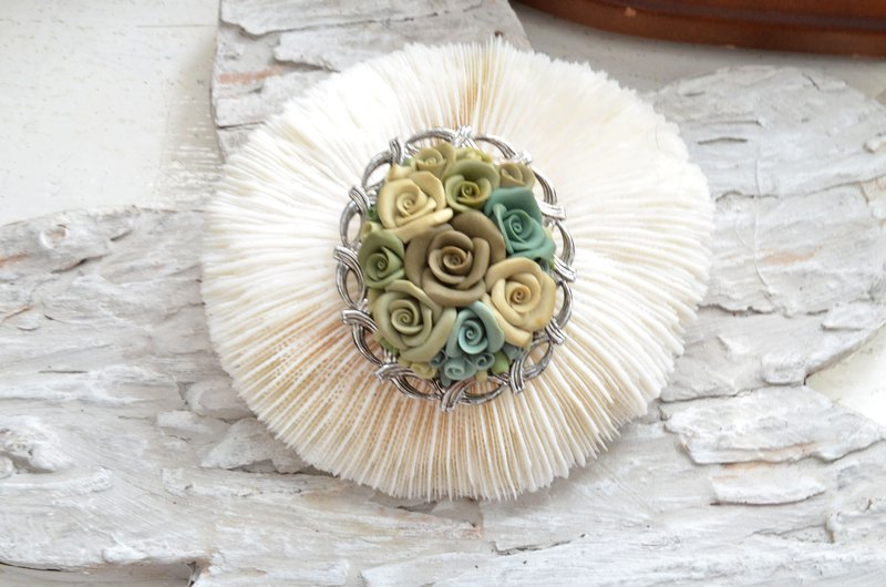 Clay rose silver brooch heart needle Japanese medieval second-hand jewellery noble elegant retro
