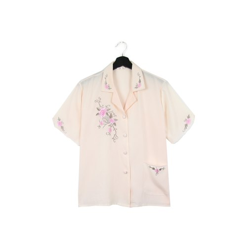 Back to Green:: silk shirt pink embroidery rose / / vintage shirt / /