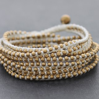 White Braided Wrap Bracelets Beaded Strand Wrap Around Brass Anklets