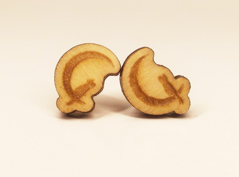 [Cat on the Moon] Plain Colored Wooden Earrings