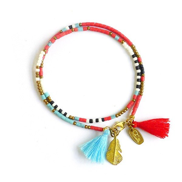 Ficelle | handmade brass natural stone bracelet | [handmade old glass] eternal ancient totem - red