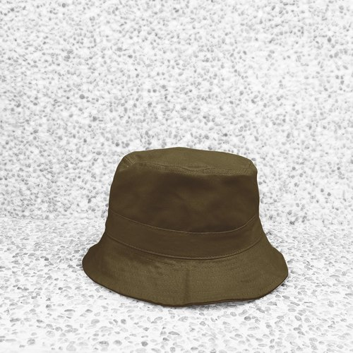 Very simple cotton double-sided hand-painted flat-top fisherman hat - dark green