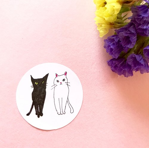 Black Cat White Cat Sticker * Paste *