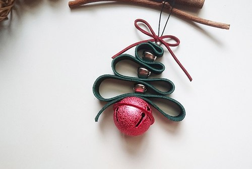 Leather Christmas bells ornaments (red)