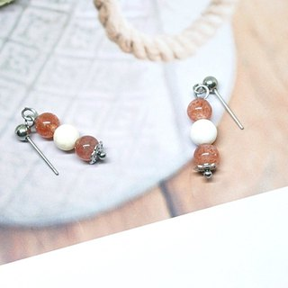 Stainless steel X natural stone pin earrings < between peach colors>