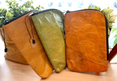 Mr.Leaf-teak leaf texture L-shaped opening storage bag (corner round)