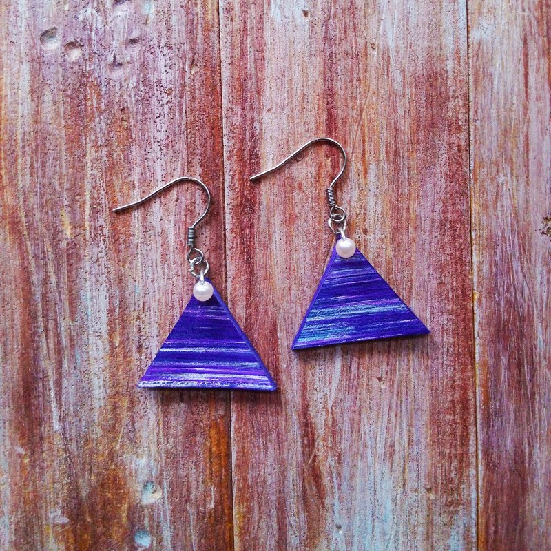 Triangle Hand Brushed Pearl Blue Purple Earrings Leather Hanging Kai Handmade Leather