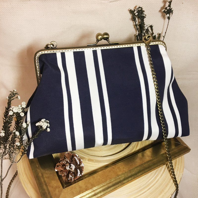 Handmade 2WAY 20cm frame shoulder bag water repellent -stripes