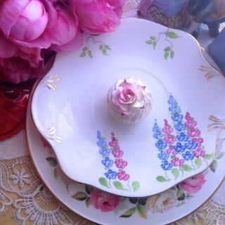 ♥ ♥ Annie crazy Antiquities British bone china made 1940 antique hand-painted bone china flower cake inventory center plate hand-painted bone china - English afternoon tea