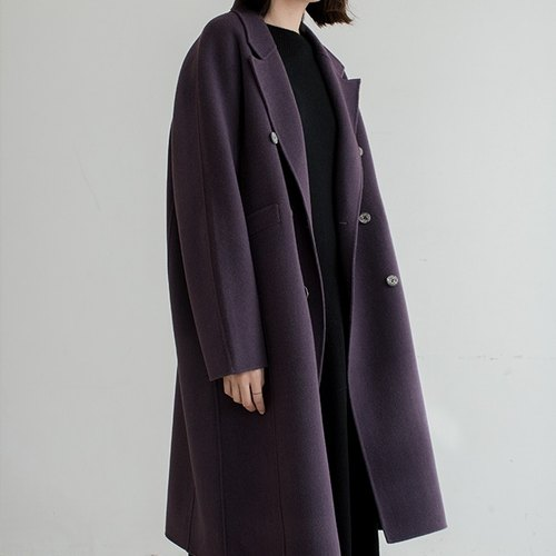 Vintage Purple Violet Hill is the big 100% fixed-dyed wool hand-double-breasted loose loose long coat OVERSIZE coat minimalist Minimalist rummaged Panton color