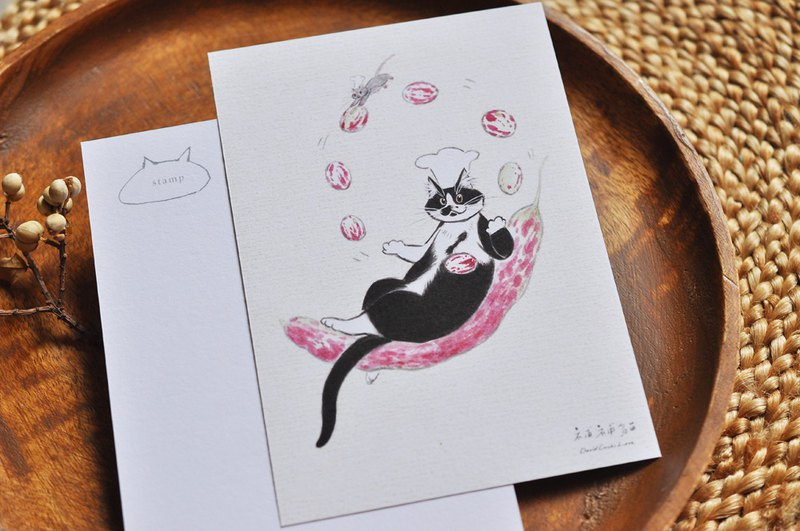Hand drawn illustration postcard - Lele cat juggling tiger beans