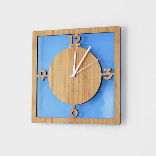 Homeloo bamboo wall clock mute |. Transparent blue square