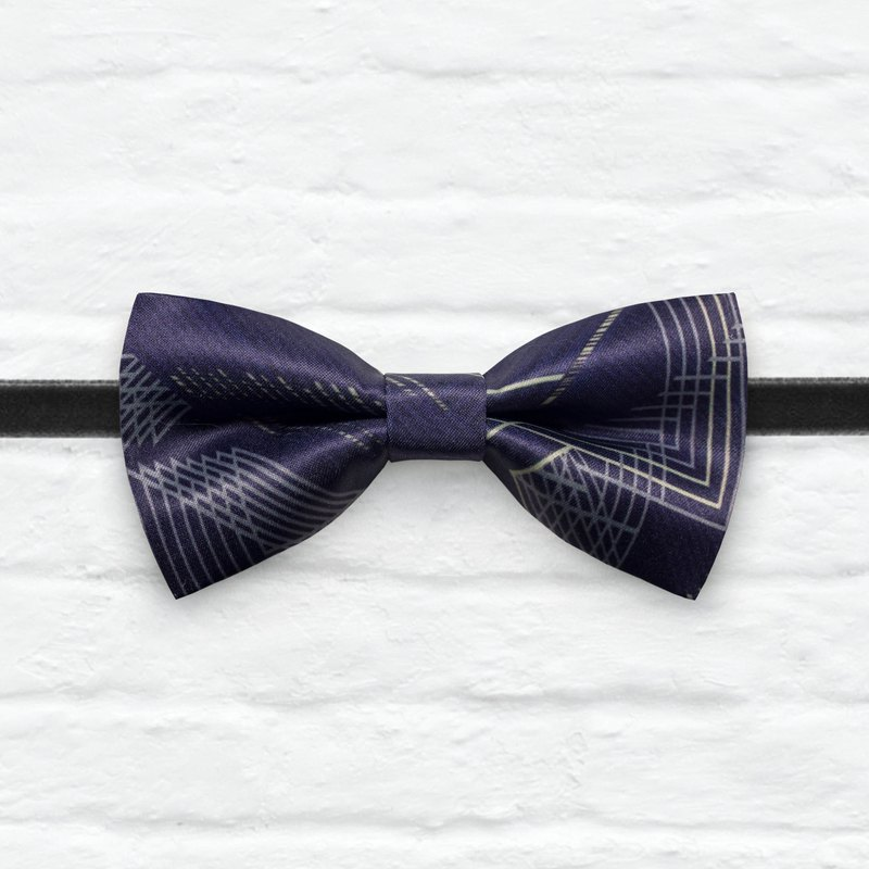 Style 0355 Low Profile Subtle Navy Geometric Architect Pattern - Outfit Bowtie