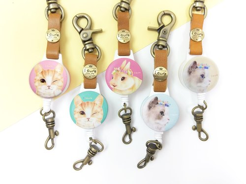 I good hook retractable ticket clip series - hand-painted series (four) Mickey cat Persian cat rabbit