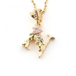 Flower English letter N necklace