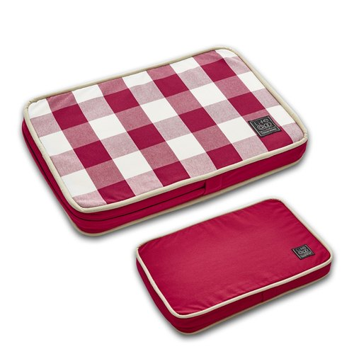Lifeapp Pet Relief Sleeping Pad Large Plaid - XS (Red and White) W45 x D30 x H5 cm