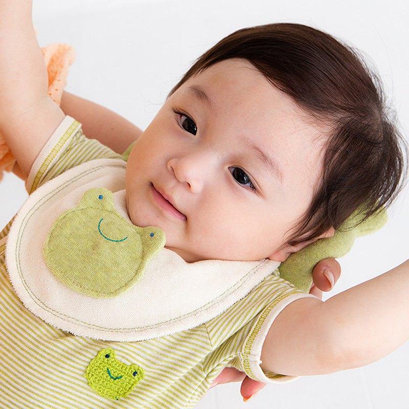 100%純棉日本製口水巾 圍兜-青蛙