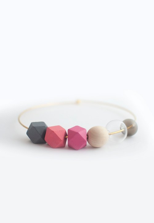 Glass Beads Pink Collar NL1100