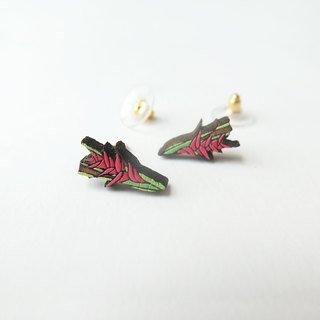 Wooden Earring Heliconia Spray