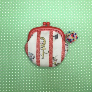Animals hiding from peeks, red gold coin purse / earphone bag