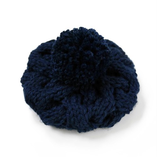 Coarse needle twist detachable hair ball knitted wool beret - blue