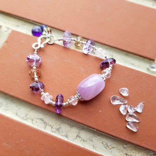 Girl Crystal World - Purple Heart Queen [Purple Lithium] Handmade Natural Crystal Bracelet