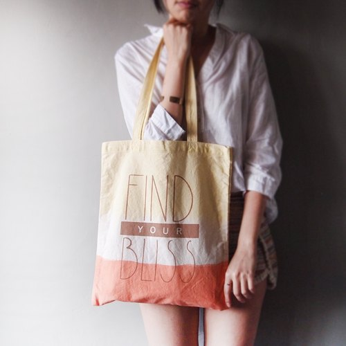 X Ma'pin FIND YOUR BLISS lemon orange / short strap hand dyed cotton canvas Tote