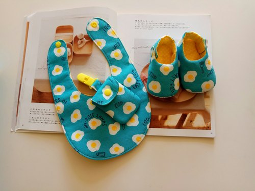 <Blue> Poached Moon Gift Baby Shoes + Bib + Ping Fu Bag