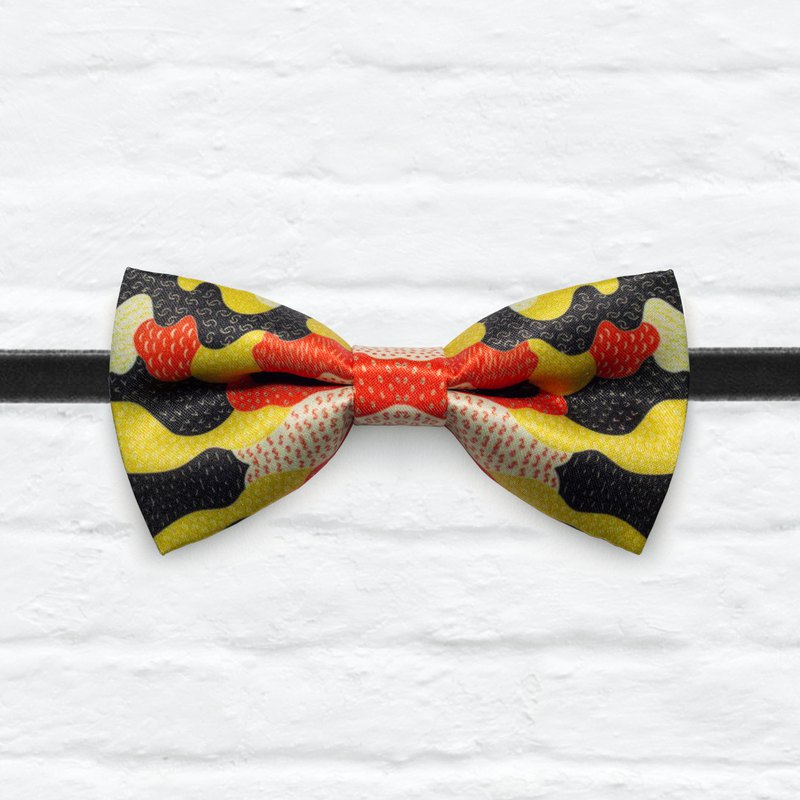 Style 0377 Orange Yellow Black Geo Puzzle Printed Bowtie -  Gift& Wedding Bowtie