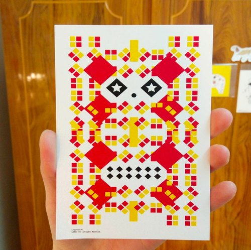 """Orange Panda"" postcard birthday card design coloring illustration card this card universal card art fine arts modern lover love special fun weird special weird lovely taiwan yellow fun funny eye-catching tide art sequins flash cool different fam"