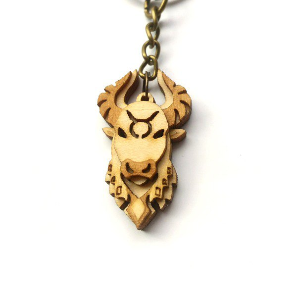 Golden Bull Diamond - Calm Shiny Taurus Keyring