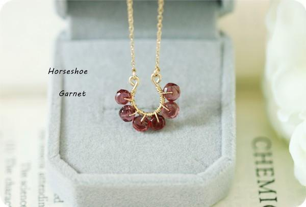 Take Good Luck Horseshoe Garnet Necklace January Birthstone